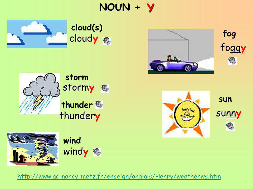 Y NOUN + cloudy foggy stormy sunny thundery windy cloud(s) fog storm