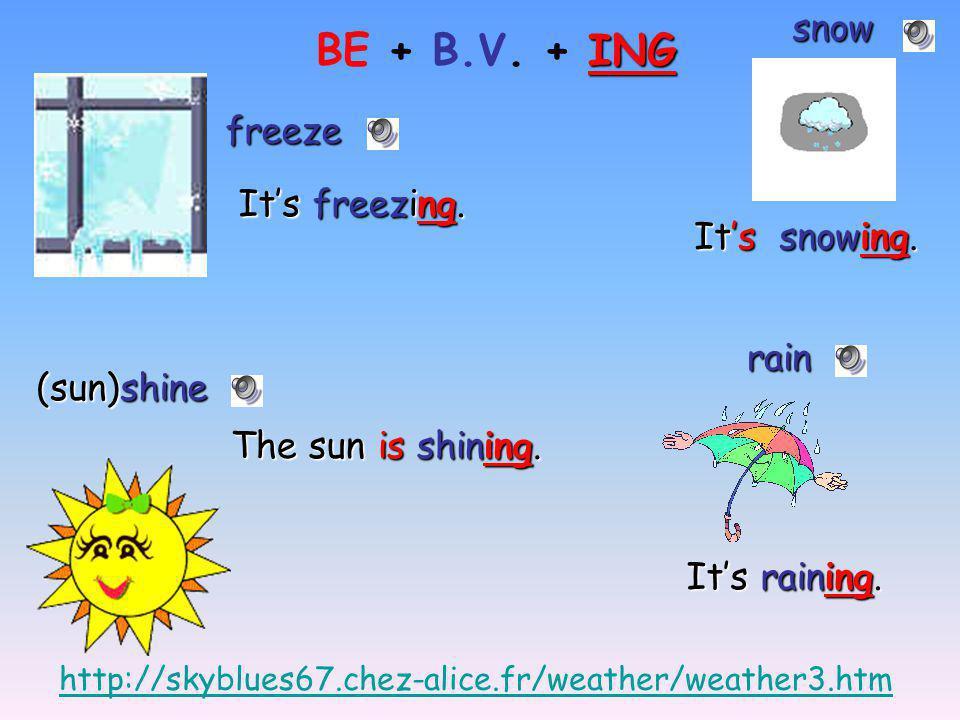 BE + B.V. + ING snow freeze It's freezing. It's snowing. rain