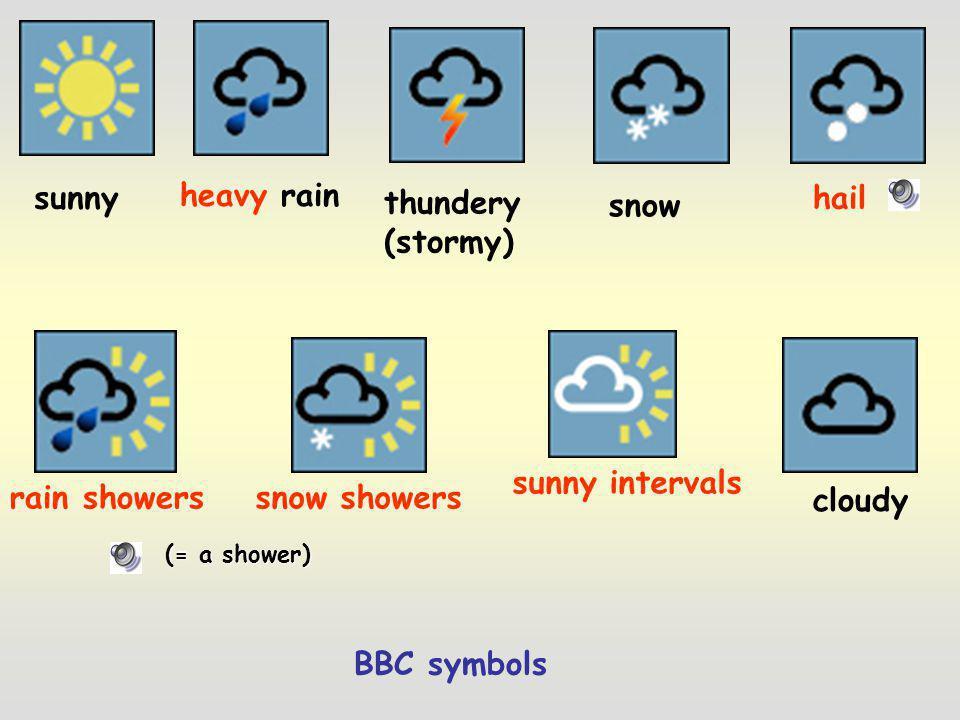 sunny heavy rain thundery (stormy) hail snow sunny intervals