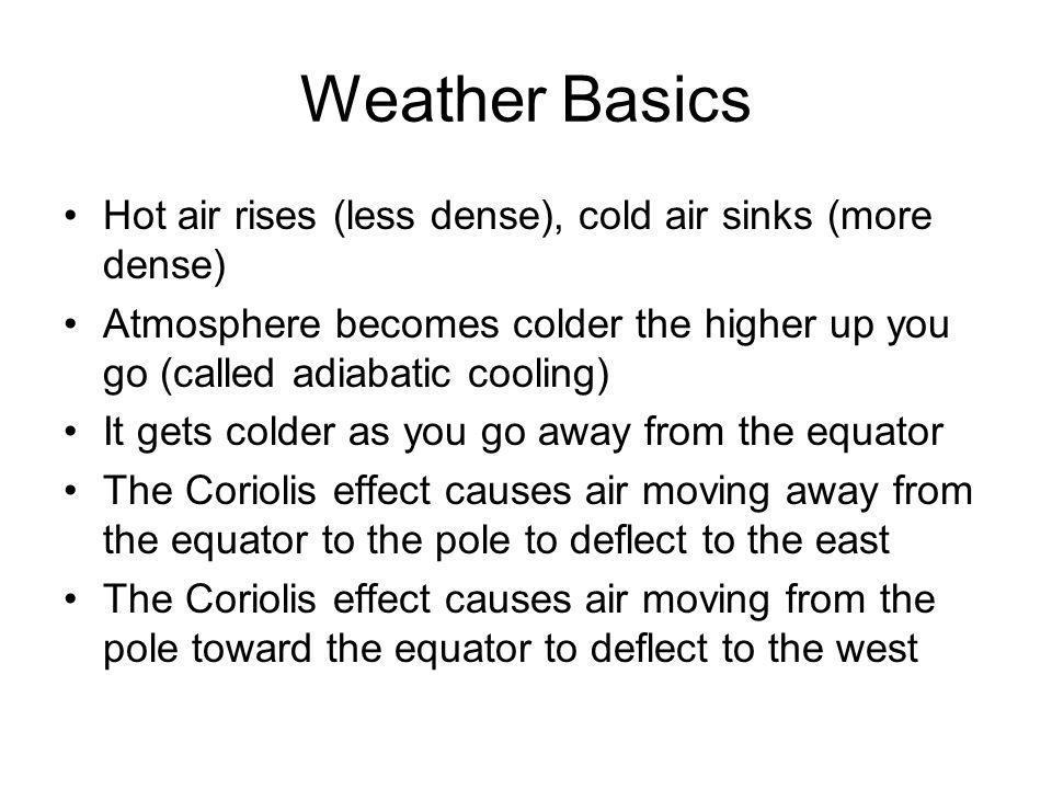 Weather Basics Hot air rises (less dense), cold air sinks (more dense)