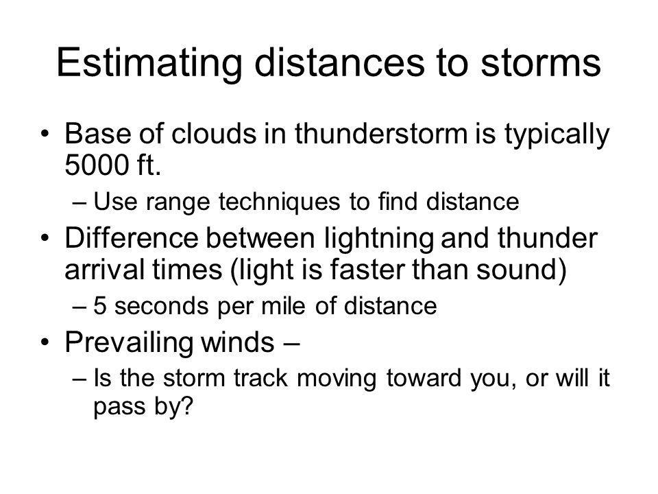 Estimating distances to storms