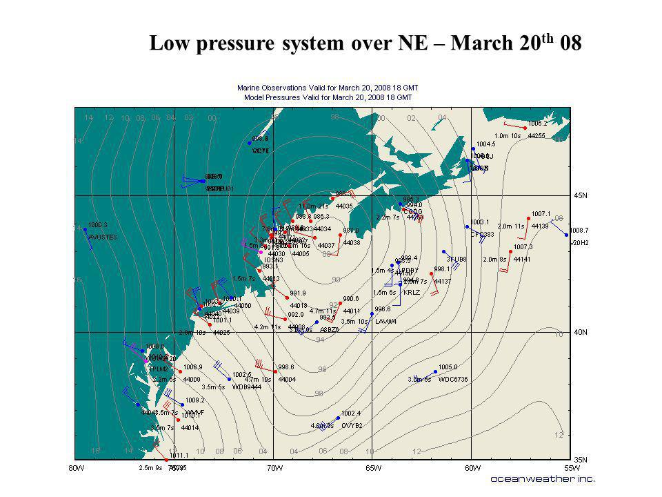 Low pressure system over NE – March 20th 08