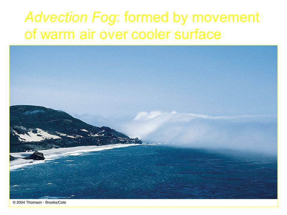 Advection Fog: formed by movement of warm air over cooler surface