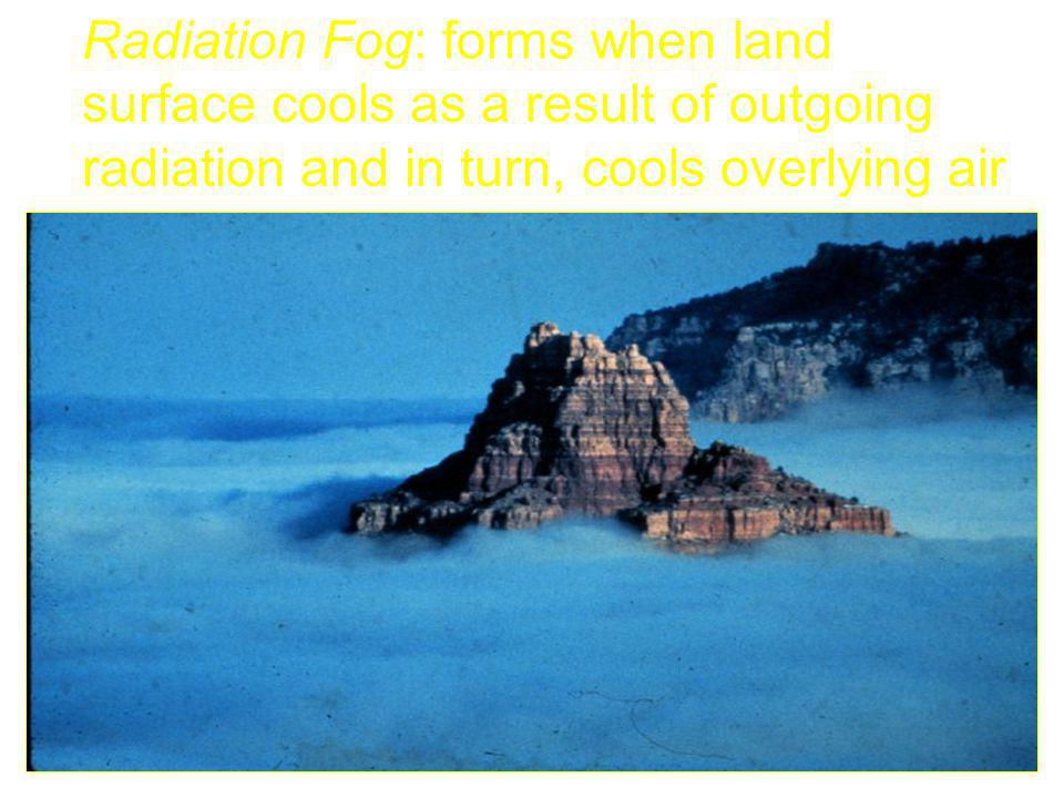 Radiation Fog: forms when land surface cools as a result of outgoing radiation and in turn, cools overlying air