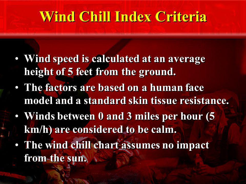 Wind Chill Index Criteria
