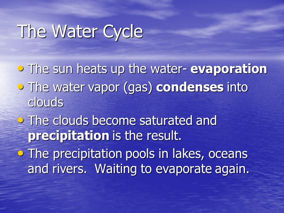 The Water Cycle The sun heats up the water- evaporation