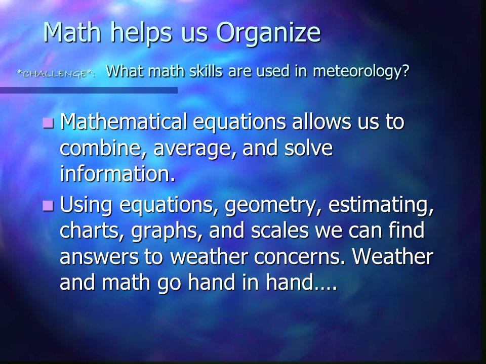 Math helps us Organize. CHALLENGE