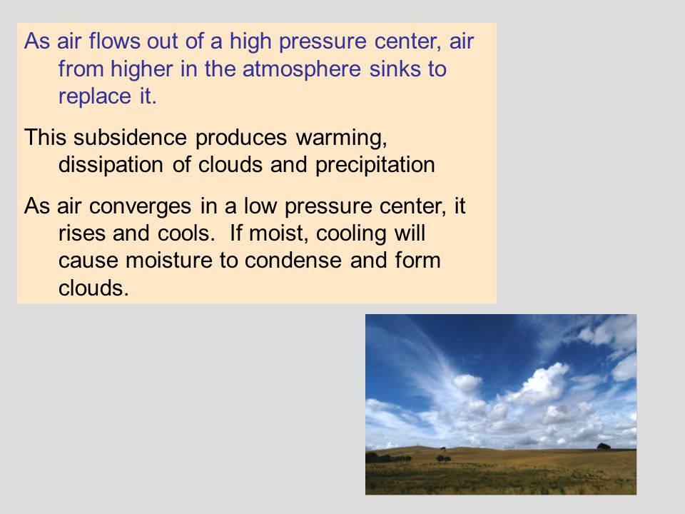 As air flows out of a high pressure center, air from higher in the atmosphere sinks to replace it.
