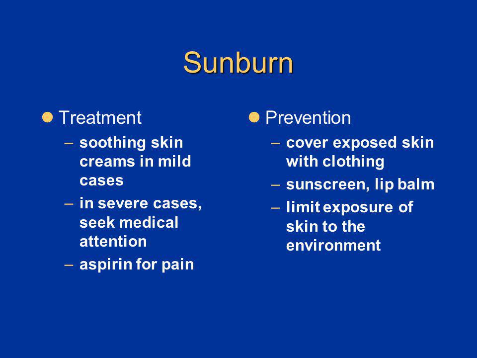 Sunburn Treatment Prevention soothing skin creams in mild cases
