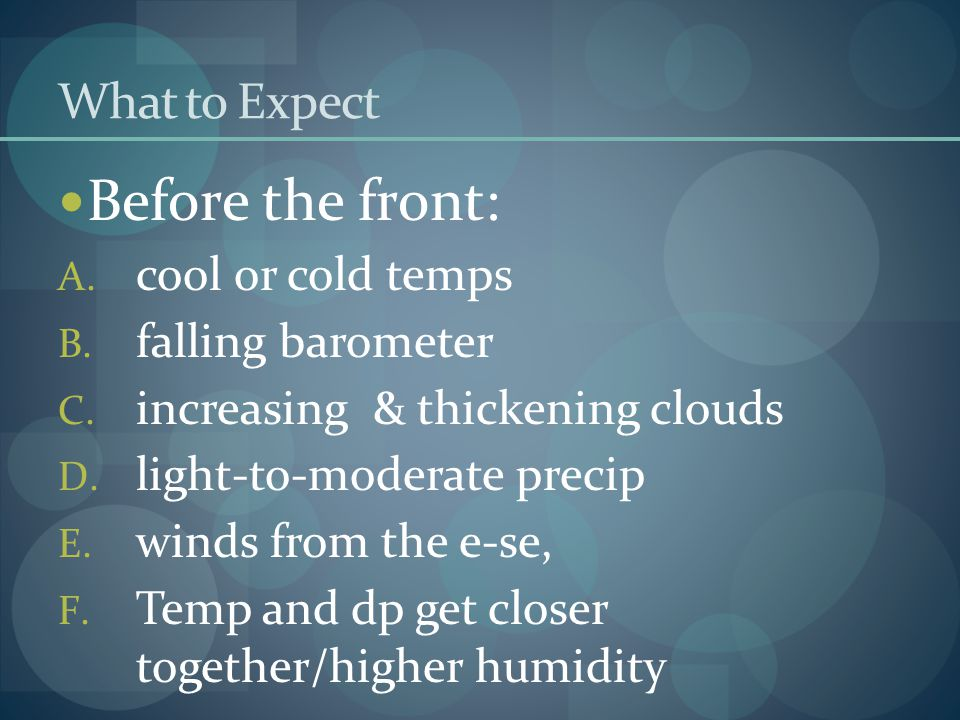 Before the front: What to Expect cool or cold temps falling barometer