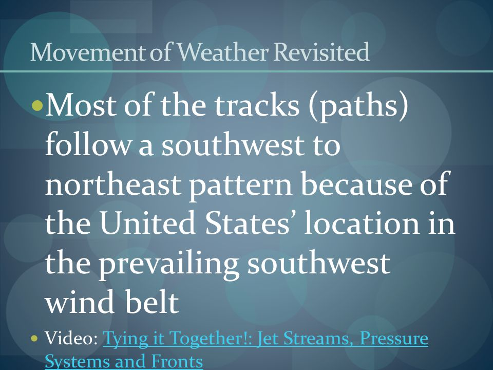 Movement of Weather Revisited