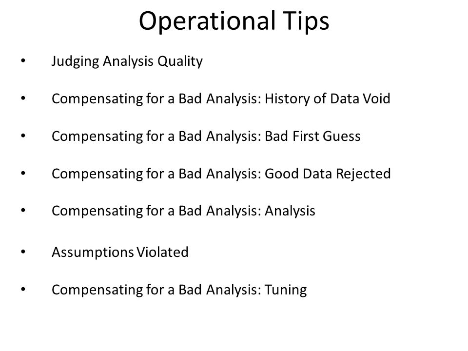 Operational Tips Judging Analysis Quality