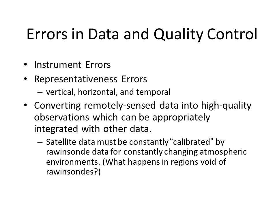 Errors in Data and Quality Control