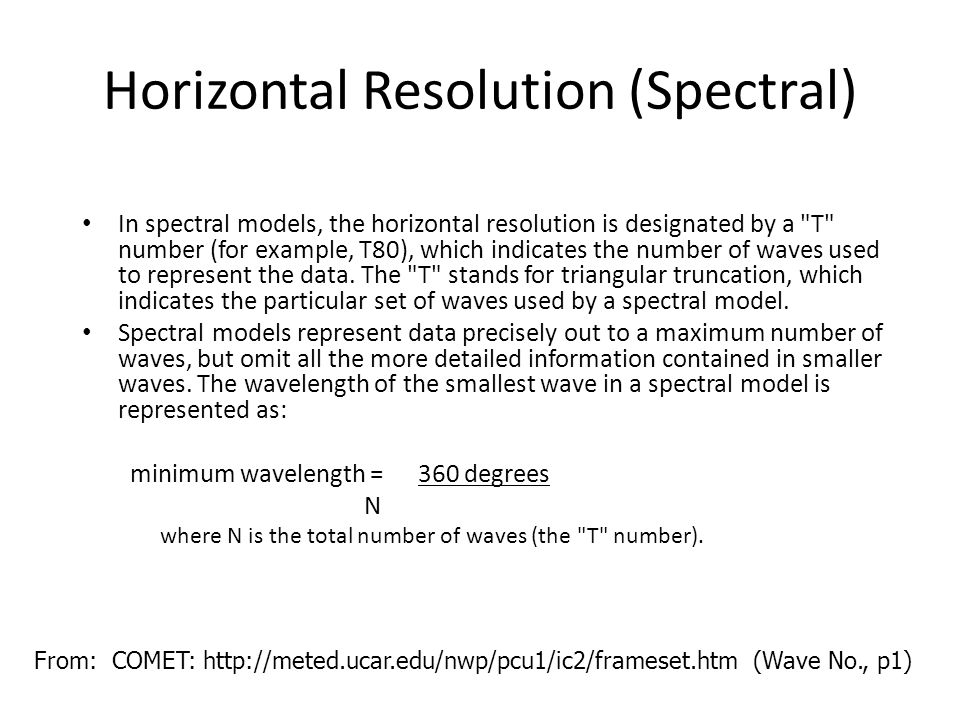 Horizontal Resolution (Spectral)