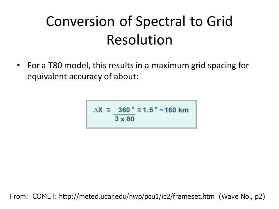 Conversion of Spectral to Grid Resolution