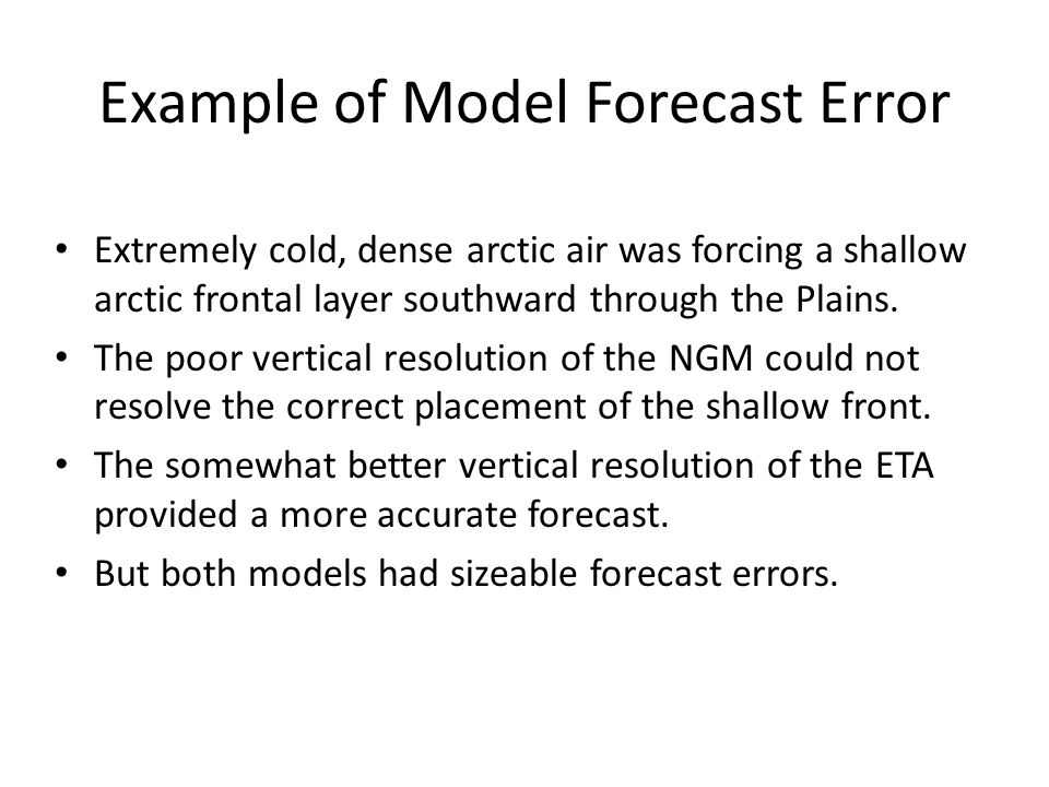Example of Model Forecast Error