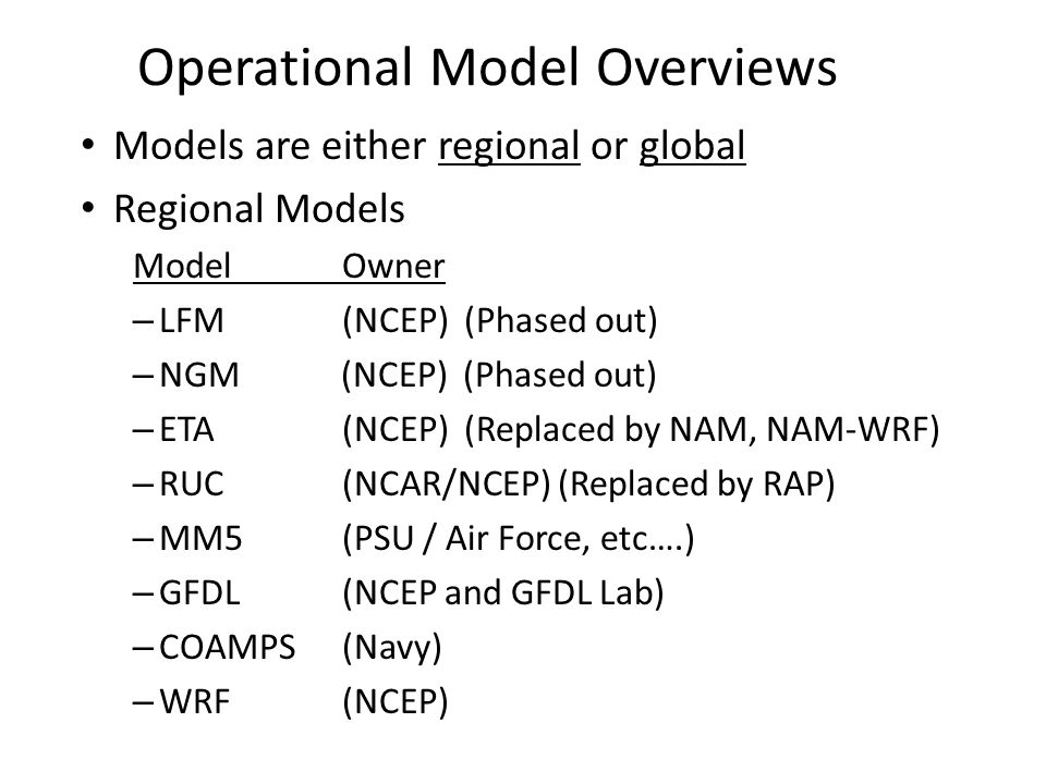 Operational Model Overviews