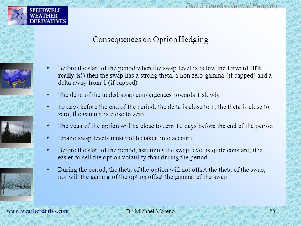 Consequences on Option Hedging