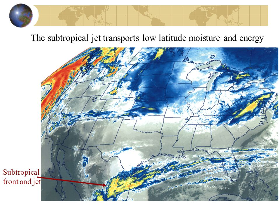 The subtropical jet transports low latitude moisture and energy