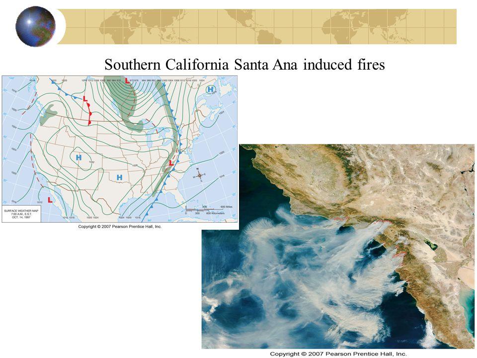 Southern California Santa Ana induced fires