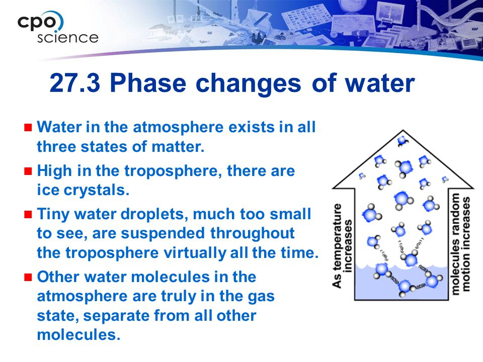27.3 Phase changes of water Water in the atmosphere exists in all three states of matter. High in the troposphere, there are ice crystals.