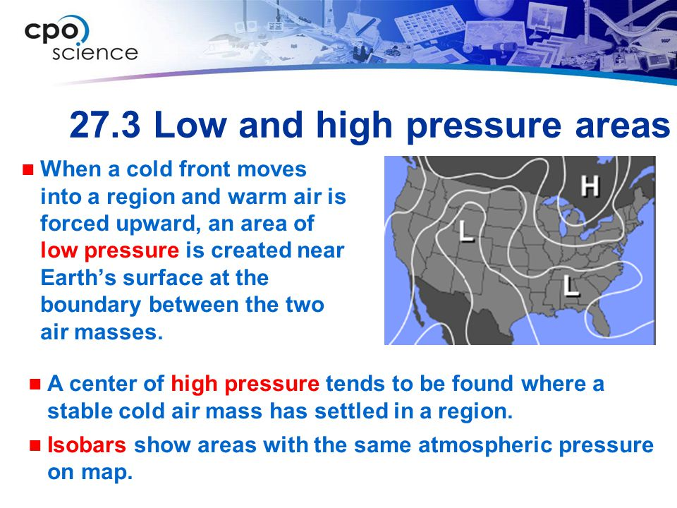 27.3 Low and high pressure areas