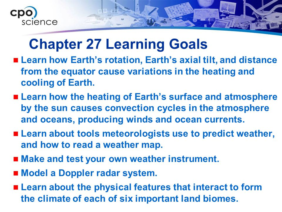 Chapter 27 Learning Goals