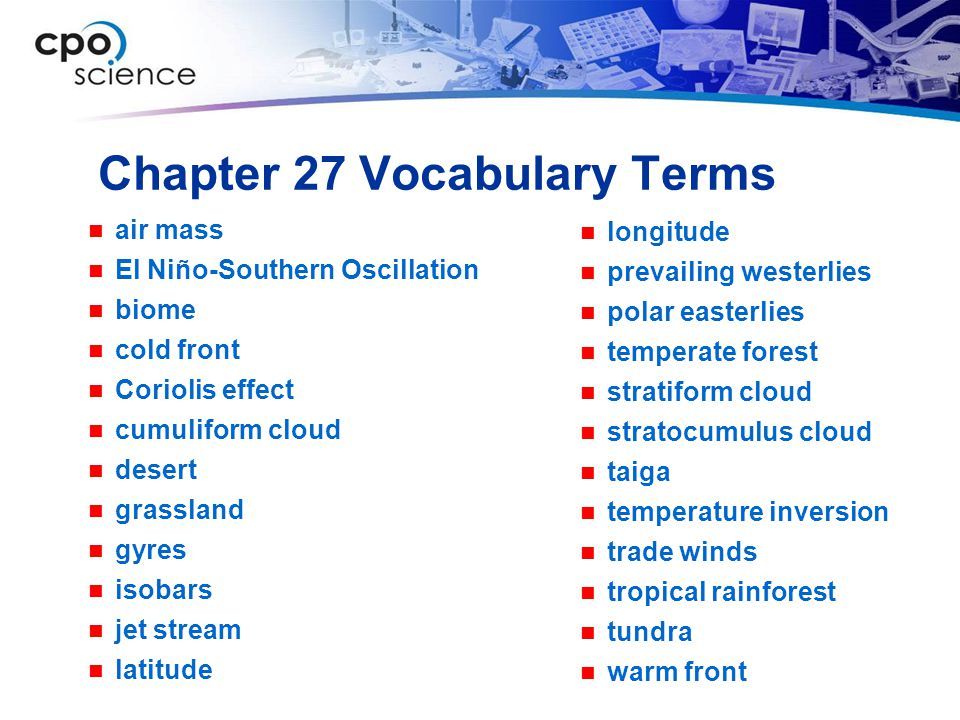 Chapter 27 Vocabulary Terms