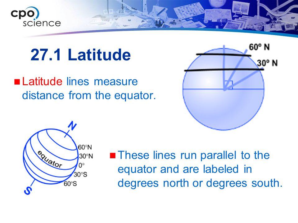 27.1 Latitude Latitude lines measure distance from the equator.