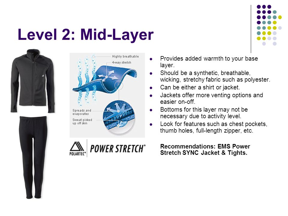 Level 2: Mid-Layer Provides added warmth to your base layer.