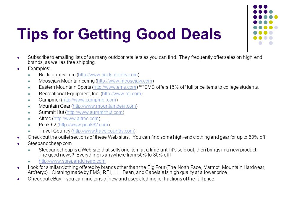 Tips for Getting Good Deals