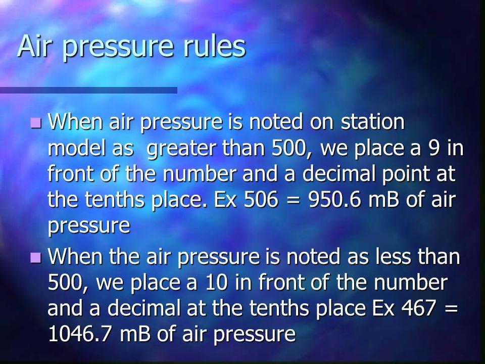 Air pressure rules