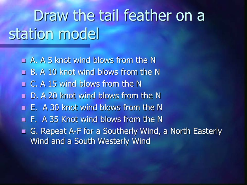 Draw the tail feather on a station model