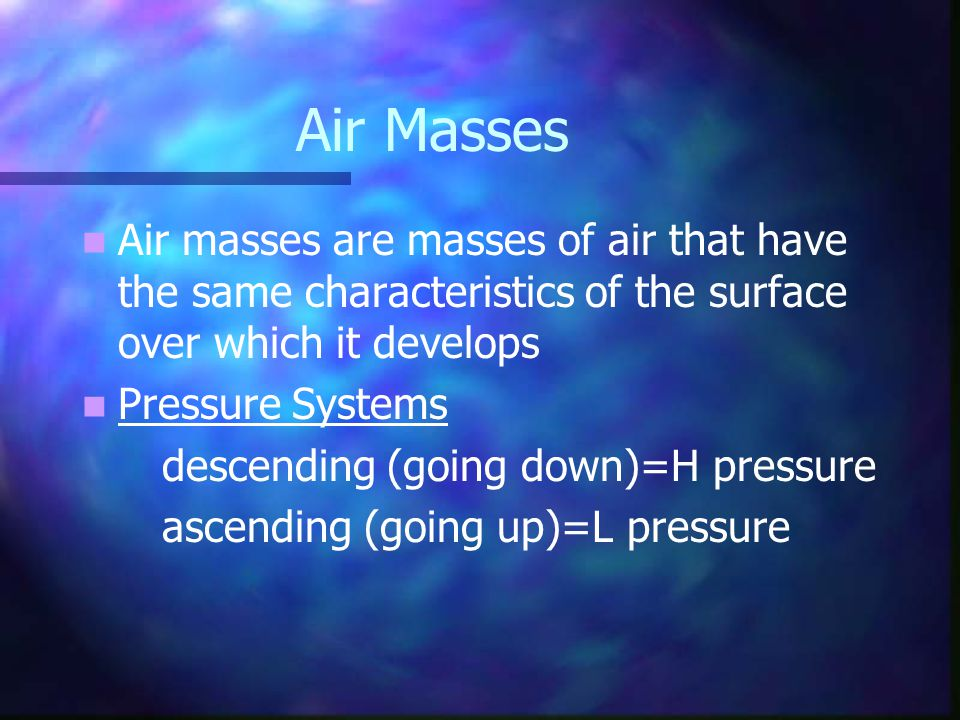 Air Masses Air masses are masses of air that have the same characteristics of the surface over which it develops.