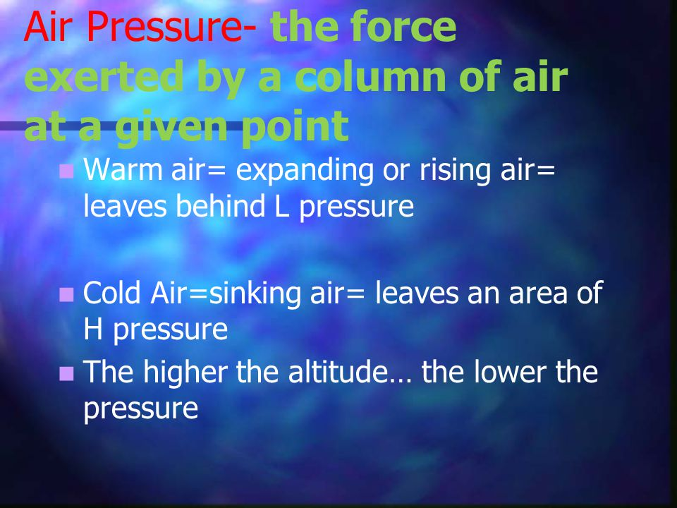Air Pressure- the force exerted by a column of air at a given point