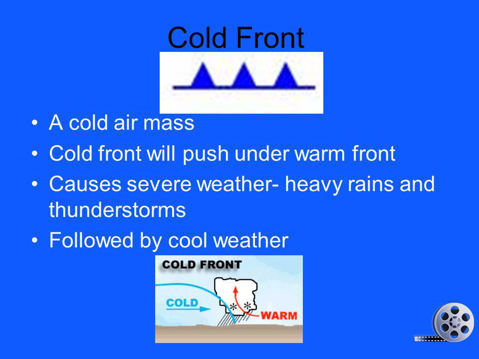 Cold Front A cold air mass Cold front will push under warm front