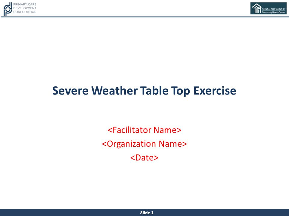 Severe Weather Table Top Exercise