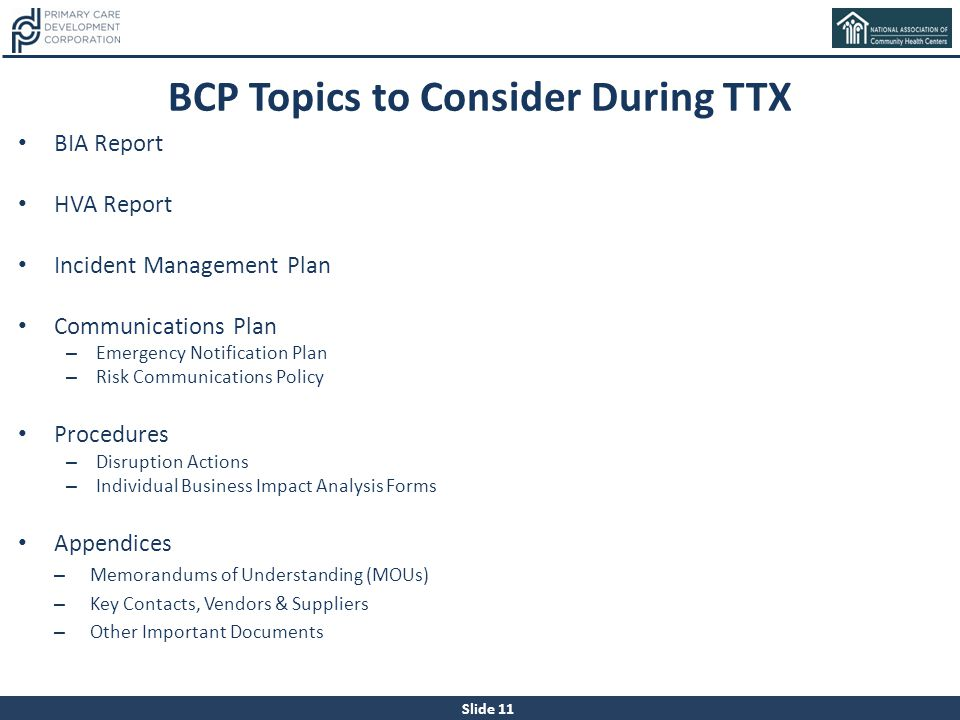 BCP Topics to Consider During TTX