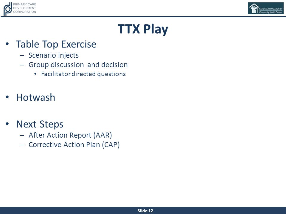 TTX Play Table Top Exercise Hotwash Next Steps Scenario injects