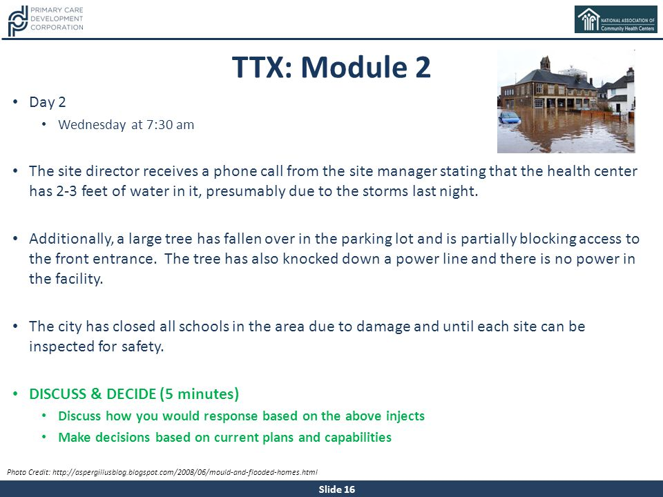 TTX: Module 2 Day 2. Wednesday at 7:30 am.