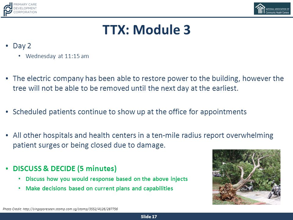 TTX: Module 3 Day 2. Wednesday at 11:15 am.