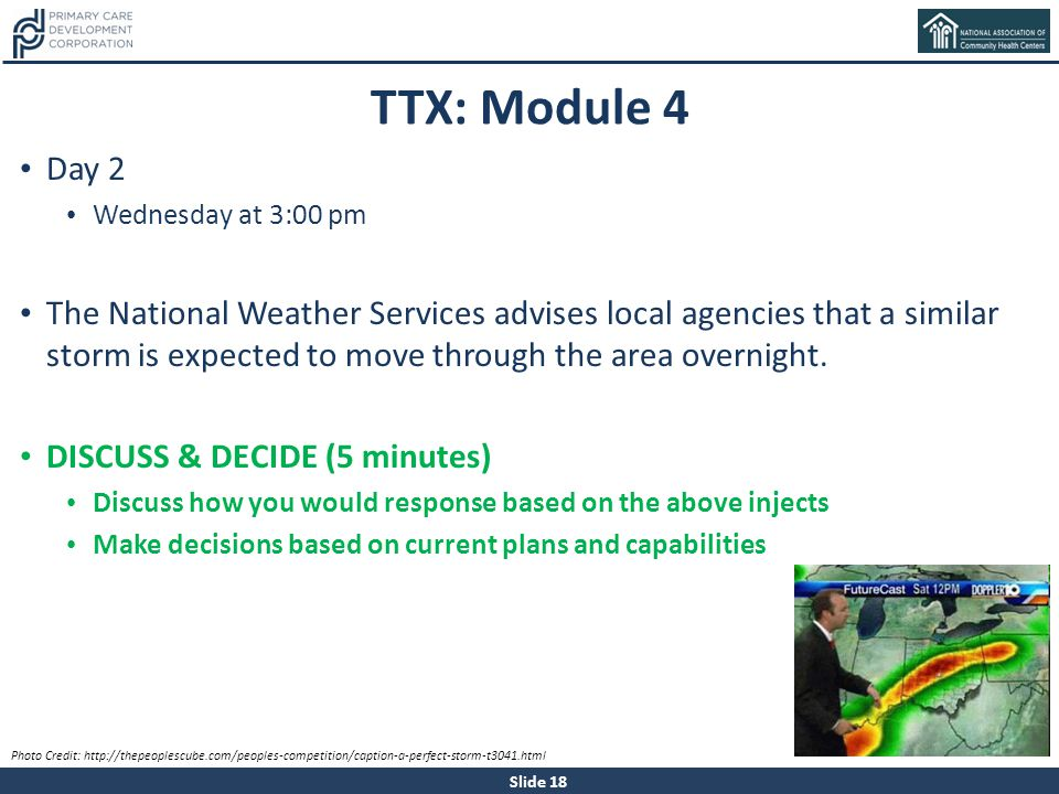 TTX: Module 4 Day 2. Wednesday at 3:00 pm.