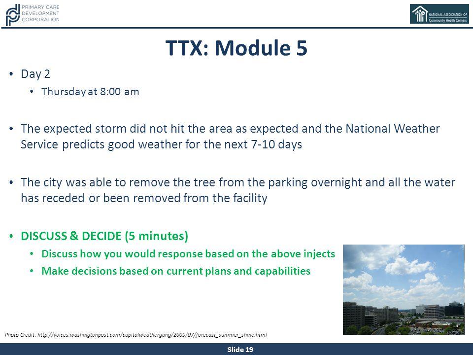 TTX: Module 5 Day 2. Thursday at 8:00 am.