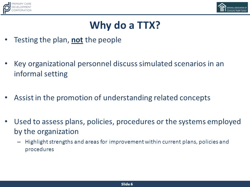 Why do a TTX Testing the plan, not the people