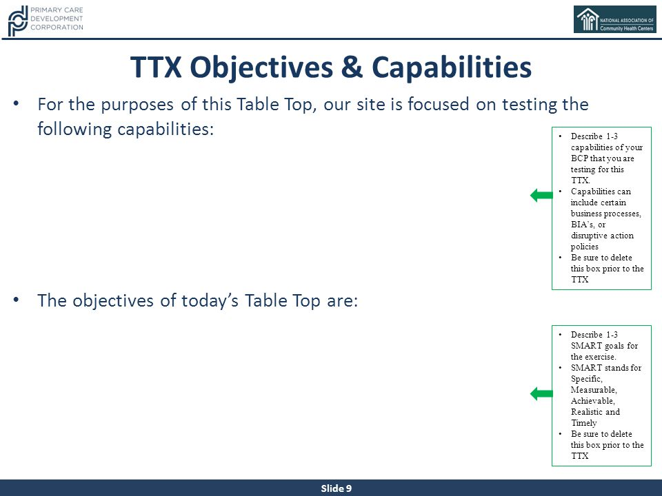 TTX Objectives & Capabilities