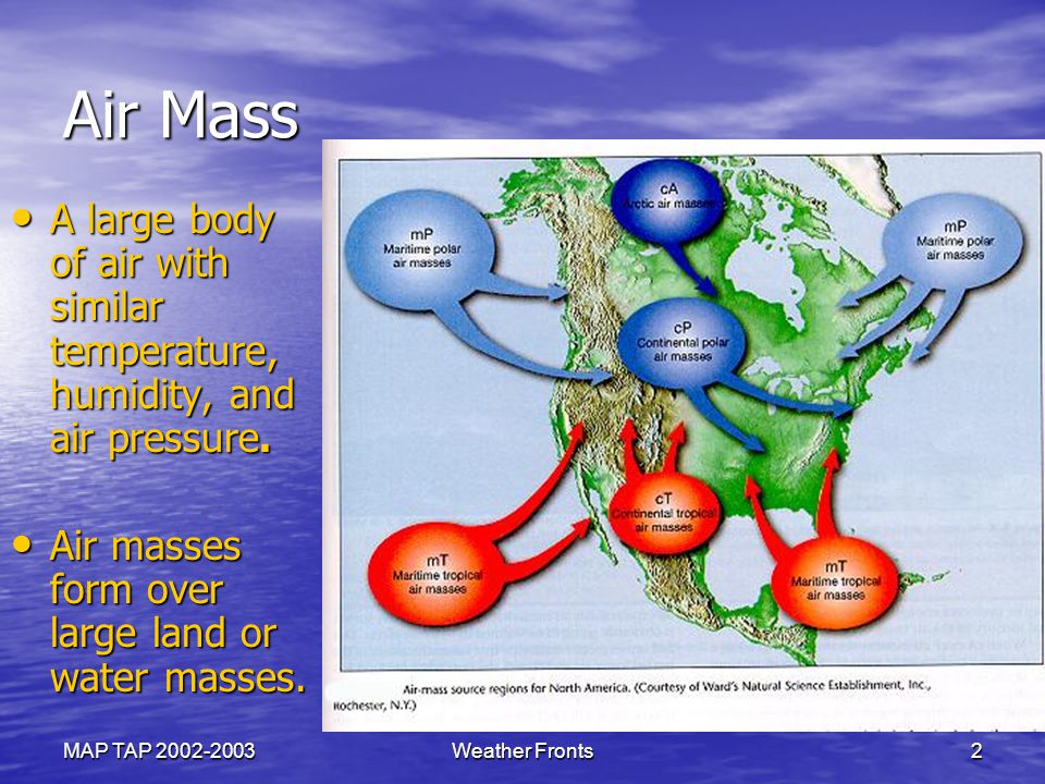 Air Mass A large body of air with similar temperature, humidity, and air pressure. Air masses form over large land or water masses.