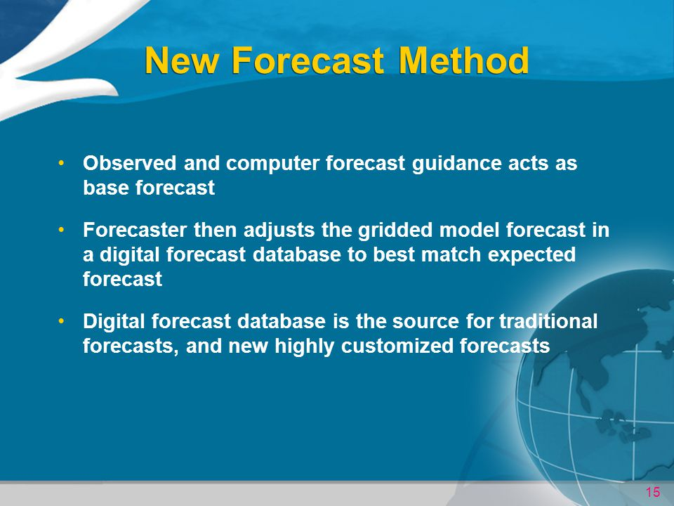 New Forecast Method Observed and computer forecast guidance acts as base forecast.