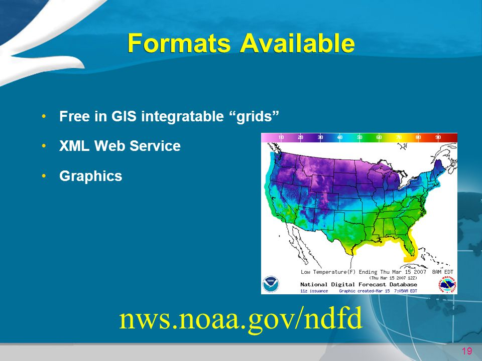 nws.noaa.gov/ndfd Formats Available Free in GIS integratable grids