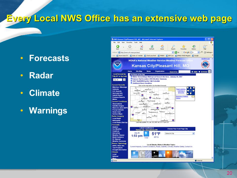 Every Local NWS Office has an extensive web page