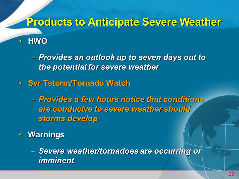 Products to Anticipate Severe Weather